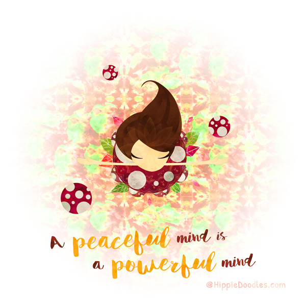 Hippie Doodles A Peaceful Mind Is A Powerful Mind Inspirational Art Print
