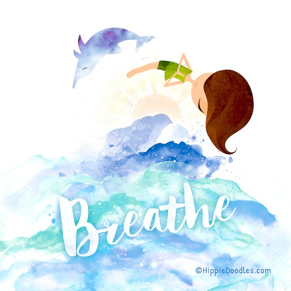 Hippie Doodles Breathe Inspirational Art Print