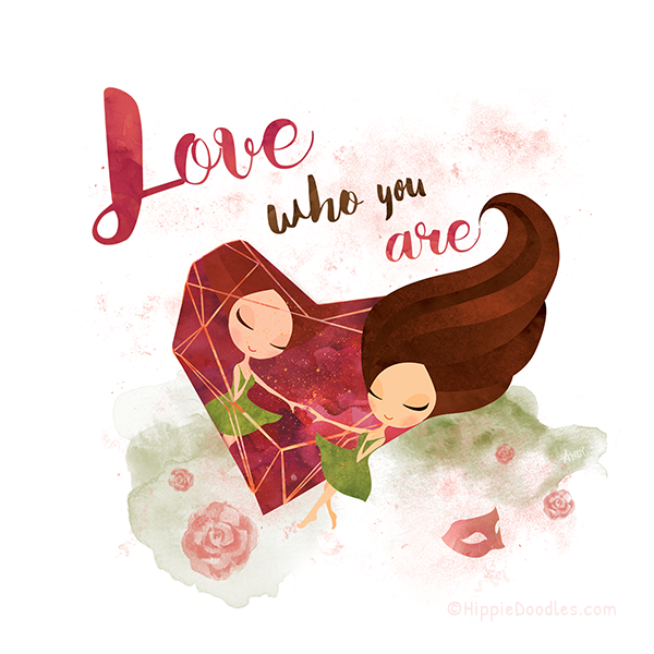 Hippie Doodles Love Who You Are Inspirational Art Print